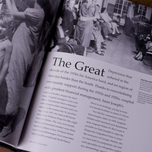 The Great Depression: Sample page/spread from professionally-formatted, designed book for Hospital in Atlanta GA